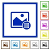 Image palette flat framed icons - Image palette flat color icons in square frames on white background