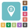 Restaurant GPS map location rounded square flat icons - Restaurant GPS map location white flat icons on color rounded square backgrounds