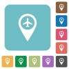 Airport GPS map location rounded square flat icons - Airport GPS map location white flat icons on color rounded square backgrounds