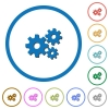 Gears icons with shadows and outlines - Gears flat color vector icons with shadows in round outlines on white background