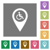 Disability accessibility GPS map location square flat icons - Disability accessibility GPS map location flat icons on simple color square backgrounds