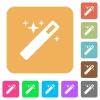 Magic wand rounded square flat icons - Magic wand icons on rounded square vivid color backgrounds.