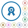 Award with ribbons icons with shadows and outlines - Award with ribbons flat color vector icons with shadows in round outlines on white background