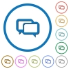 Chat bubbles flat color vector icons with shadows in round outlines on white background - Chat bubbles icons with shadows and outlines