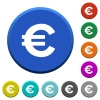 Euro sign beveled buttons - Euro sign round color beveled buttons with smooth surfaces and flat white icons