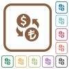 Dollar Lira exchange simple icons - Dollar Lira exchange simple icons in color rounded square frames on white background