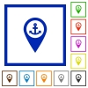 Sea port GPS map location flat framed icons - Sea port GPS map location flat color icons in square frames on white background