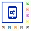 Smartphone settings flat framed icons - Smartphone settings flat color icons in square frames on white background