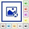 Cancel image operations flat framed icons - Cancel image operations flat color icons in square frames on white background