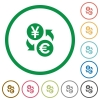 Yen Euro exchange flat icons with outlines - Yen Euro exchange flat color icons in round outlines on white background