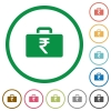 Indian Rupee bag flat icons with outlines - Indian Rupee bag flat color icons in round outlines on white background