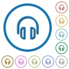 Headset icons with shadows and outlines - Headset flat color vector icons with shadows in round outlines on white background