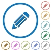 Pencil icons with shadows and outlines - Pencil flat color vector icons with shadows in round outlines on white background