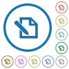 Edit with pencil icons with shadows and outlines - Edit with pencil flat color vector icons with shadows in round outlines on white background