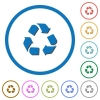 Recycling symbol icons with shadows and outlines - Recycling symbol flat color vector icons with shadows in round outlines on white background