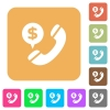 Dollar call rounded square flat icons - Dollar call flat icons on rounded square vivid color backgrounds.