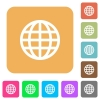Globe rounded square flat icons - Globe flat icons on rounded square vivid color backgrounds.