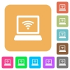 Computer with wireless symbol rounded square flat icons - Computer with wireless symbol flat icons on rounded square vivid color backgrounds.
