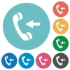 Incoming call flat round icons - Incoming call flat white icons on round color backgrounds