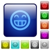 Laughing emoticon color square buttons - Laughing emoticon icons in rounded square color glossy button set