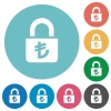 Locked lira flat round icons - Locked lira flat white icons on round color backgrounds