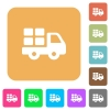 Transport rounded square flat icons - Transport flat icons on rounded square vivid color backgrounds.