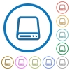 Hard disk drive icons with shadows and outlines - Hard disk drive flat color vector icons with shadows in round outlines on white background