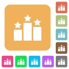 Ranking rounded square flat icons - Ranking flat icons on rounded square vivid color backgrounds.