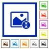 Vertically flip image flat framed icons - Vertically flip image flat color icons in square frames on white background