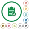 Save note flat icons with outlines - Save note flat color icons in round outlines on white background