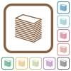 Paper stack simple icons - Paper stack simple icons in color rounded square frames on white background
