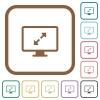 Adjust screen resolution simple icons - Adjust screen resolution simple icons in color rounded square frames on white background