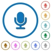 Microphone icons with shadows and outlines - Microphone flat color vector icons with shadows in round outlines on white background