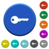 Safety key beveled buttons - Safety key round color beveled buttons with smooth surfaces and flat white icons
