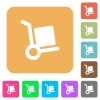 Hand truck rounded square flat icons - Hand truck flat icons on rounded square vivid color backgrounds.