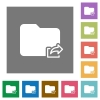 Export folder square flat icons - Export folder flat icons on simple color square backgrounds