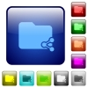 Share folder color square buttons - Share folder icons in rounded square color glossy button set