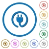 Rolled power cord icons with shadows and outlines - Rolled power cord flat color vector icons with shadows in round outlines on white background