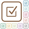 Checked box simple icons - Checked box simple icons in color rounded square frames on white background