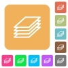 Printing papers rounded square flat icons - Printing papers flat icons on rounded square vivid color backgrounds.