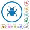 Bug icons with shadows and outlines - Bug flat color vector icons with shadows in round outlines on white background