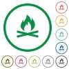 Camp fire flat icons with outlines - Camp fire flat color icons in round outlines on white background