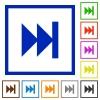 Media fast forward flat framed icons - Media fast forward flat color icons in square frames on white background