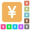 Yen sign rounded square flat icons - Yen sign flat icons on rounded square vivid color backgrounds.