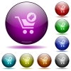 Product purchase features glass sphere buttons - Product purchase features icons in color glass sphere buttons with shadows