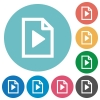 Playlist flat round icons - Playlist flat white icons on round color backgrounds