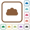 Cloud simple icons - Cloud simple icons in color rounded square frames on white background