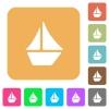 Sailboat rounded square flat icons - Sailboat flat icons on rounded square vivid color backgrounds.