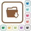 Folder download simple icons - Folder download simple icons in color rounded square frames on white background