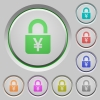 Locked Yens push buttons - Locked Yens color icons on sunk push buttons